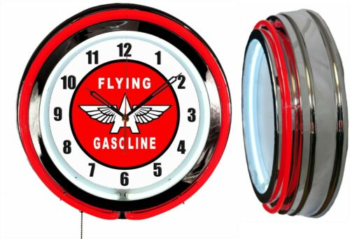 """Flying A Gasoline Gas Oil 19"""" Double Neon Clock Red Neon Chrome Finish Man Cave"""