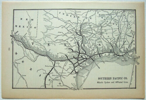 Southern Pacific Railroad - Atlantic System - Original 1895 System Map
