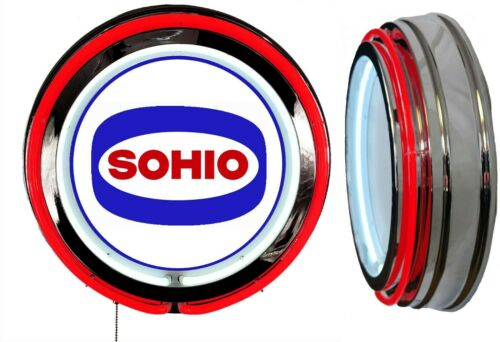 Sohio Gas N Oil Logo Sign, Neon Sign, RED Outside Neon, Chrome Shell, No Clock