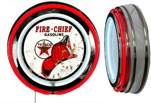 Texaco Fire Chief Gas Rusty Look Logo Sign Neon Sign RED Outside Neon No Clock