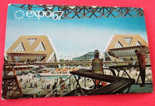 Theme Pavilions Planet Space Man Life Expo 67  Montreal Canada Postmark Postcard