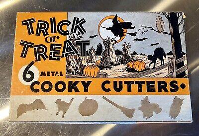 6 Vintage Halloween Trick Or Treat Metal Cookie Cooky Cutters in Original Box!