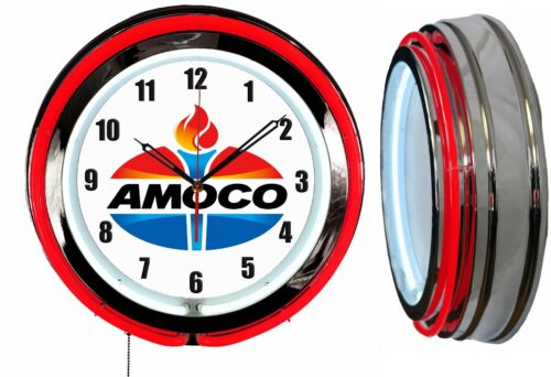 """Amoco Oil Gas 19"""" Double Neon Clock Red Neon Man Cave Garage Gas Station"""