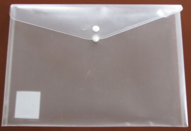 12 Stück Dokumententasche A4 transparent klar Klarsichthüllen m. Knopf bsb Marke