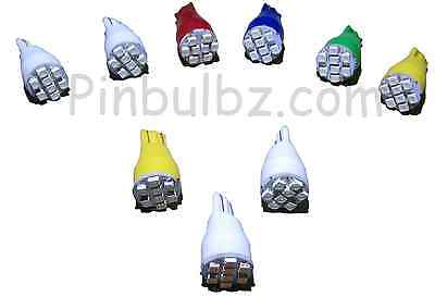"Pinball LED bulbs 25pc COOL WHITE #906 FLASHER ""Ultra Bright"" 8LED 12v wedge"