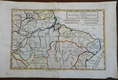 Northern Brazil Amazon River Maranhao Piau Paraiba 1780 Bonne engraved map