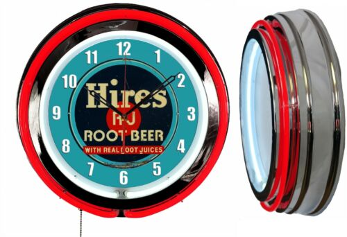 """Hires Root Beer 19"""" Double Neon Clock Red Neon Chrome Finish Man Cave Garage Bar"""