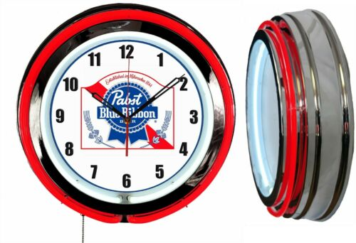 "Pabst Blue Ribbon PBR Beer 19"" Double Neon Clock Man Cave Bar Garage Red Neon"