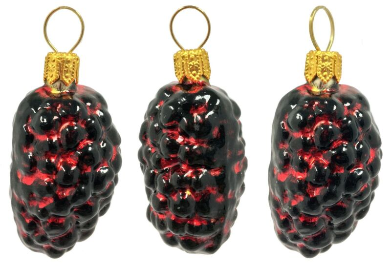 Red and Black Mulberries Polish Glass Christmas Ornament Set of 3 Mulberry Fruit