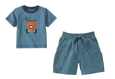 NWT LOT BOY GYMBOREE CONSTRUCTION AHEAD TEE CARGO SHORTS OUTFIT SET 12-18 MS NEW