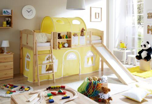 rutschbett hochbett mit rutsche spielbett kinderbett etagenbett natur gelb wei - Hausgemachte Etagenbetten Mit Rutsche