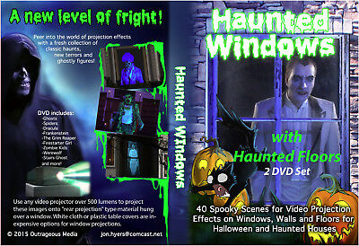 HAUNTED WINDOWS Halloween Video Projection DVDs and FREE MUSIC (Halloween Projection Movies)