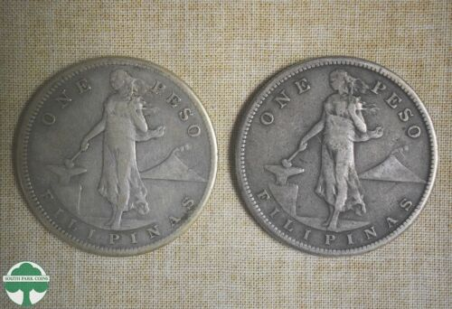 1907-S & 1908-S PHILIPPINE SILVER PESOS- VF DETAILS- ACTUAL SILVER WEIGHT: 1.028