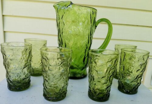 Vintage Anchor Hocking Lido Milano?? Avocado Green Crinkle Juice Glasses Pitcher