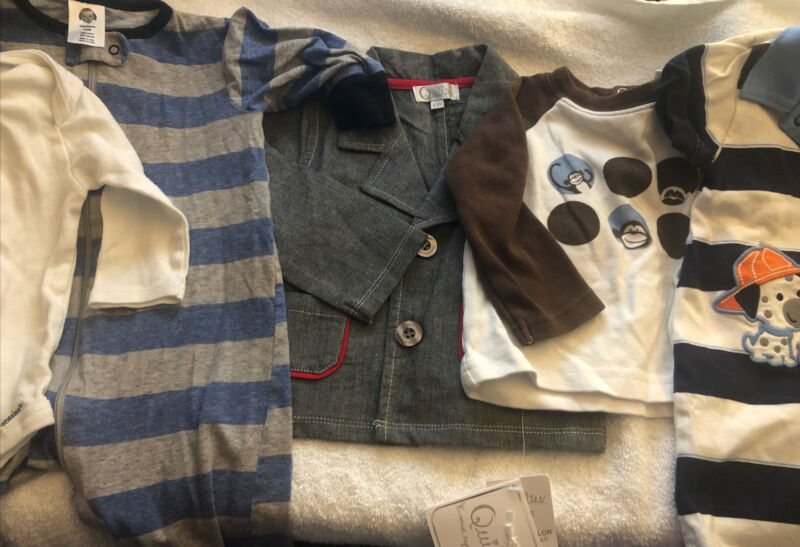 Lot Of Baby Boy Clothes 8 Pieces (size 6-9 Month) 3 One Pc., 1 Shirts, 2 Shorts,