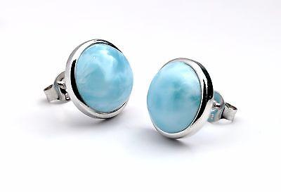 Genuine Larimar 10mm Bezel Set Stud Earrings .925 Sterling Silver  Bezel Set Stud Earrings