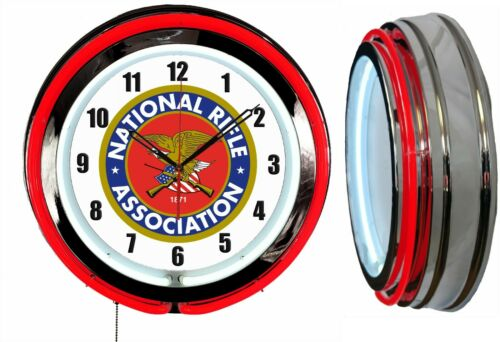 """NRA National Rifle Association 19"""" Double Neon Clock Red Neon Man Cave Garage"""