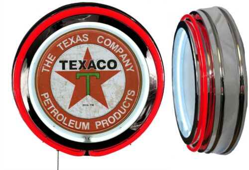 Texaco Petroleum Products Sign, Neon Sign RED Outside Neon Chrome Shell No Clock