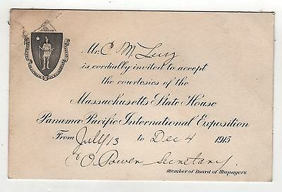 Rare 1915 PPIE Massachusetts Invitation PANAMA PACIFIC Exposition EXPO Fair