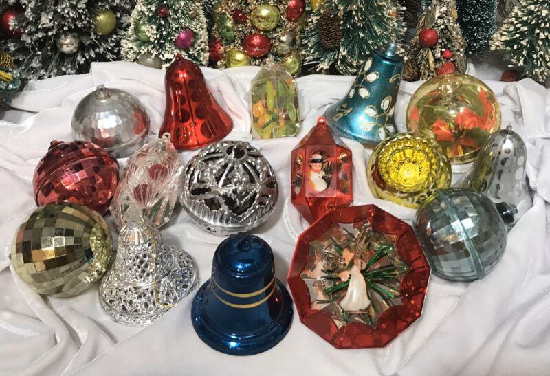 Lot of 16 Vintage Bradford & Jewelbrite Plastic Christmas Diorama Ornaments