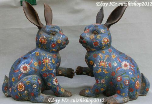 "18"" Chinese Purple Bronze Cloisonne Enamel Zodiac Year Rabbit Hare pair statues"