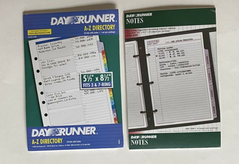 Day Runner A-Z Directory 5 1/2 x 8 1/2, and Notes.