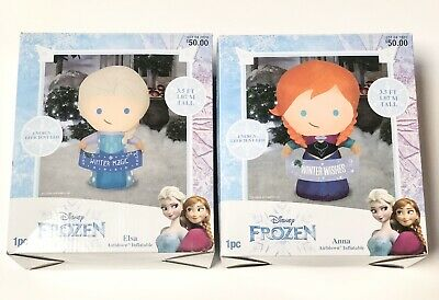 Disney's Frozen ANNA and ELSA Air Blown Inflatables 3.5' tall *NEW*