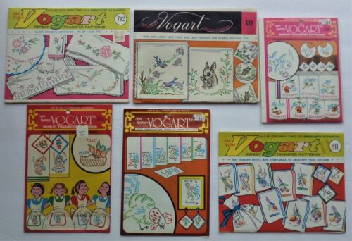 Lot of 6 VOGART Hot Iron Embroidery Transfer Patterns - Fruits/Birds/Deer/Roses