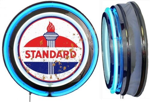 Standard Oil DISTRESSED Rusty LOOK Sign, Neon Sign, Blue Outside Neon, No Clock