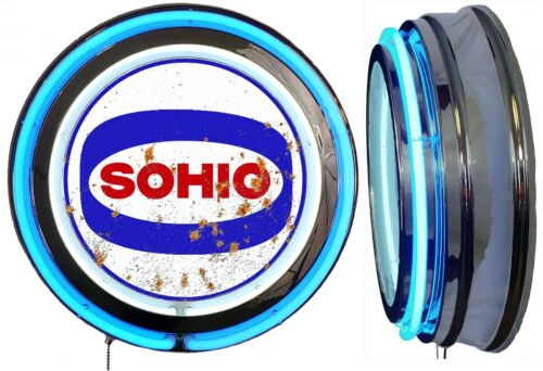 Sohio Gas N Oil Logo DISTRESSED Rusty LOOKING Sign Neon Sign Blue Neon No Clock