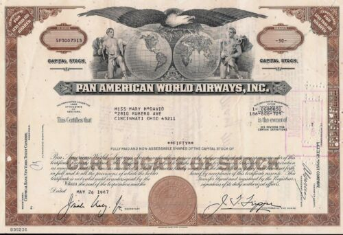 Stock certificate Pan Am - Pan American World Airways, Inc. + attached document
