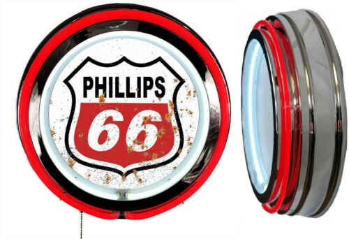 Phillips 66 Logo in a DISTRESSED Rusty LOOKING Sign, Neon Sign RED Neon No Clock