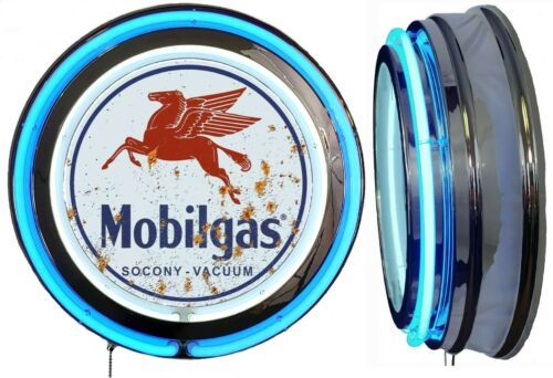 Mobil Gas Socony Vacuum DISTRESSED Rusty LOOK Sign Neon Sign BLUE Neon NO Clock
