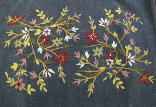 HANDMADE EMBROIDERY FLORAL WALL HANGING, STEEL BLUE MULTI-COLOR