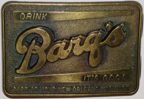 Vintage belt buckle DRINK BARQS ITS GOOD 1983 New Orleans Heritage unused n-mint