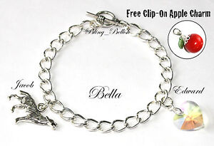 Twilight Bella Inspired Graduation Charm Bracelet - Wolf Crystal Heart Handmade