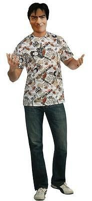 Charlie Sheen T-Shirt and Mask Adult Costume STD or XL](Charlie Sheen Costume)