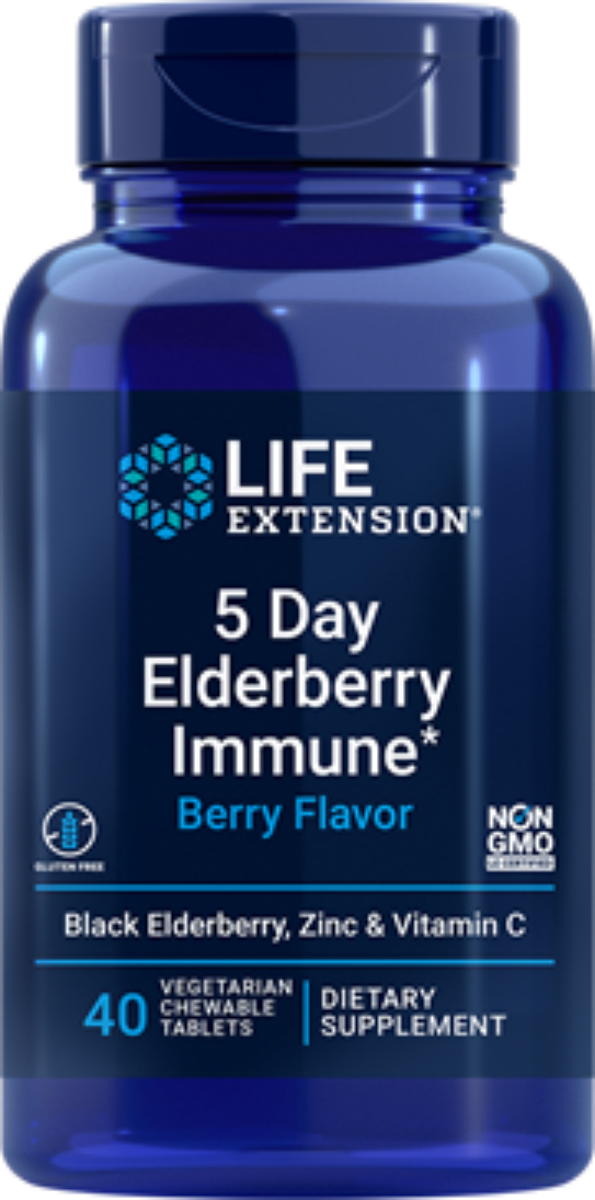 2X $12.99 Life Extension 5 Day Elderberry Immune (Berry Flavor) Zinc, C chewable