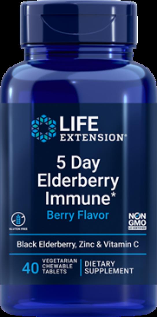 2X $12.99 Life Extension 5 Day Elderberry Immune (Berry Flavor) Zinc, C chewable