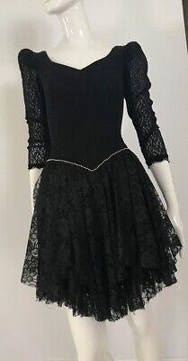 80s Dresses | Casual to Party Dresses Vintage 1980's Black Lace Stretch Fit Layered Hem Dress $37.45 AT vintagedancer.com
