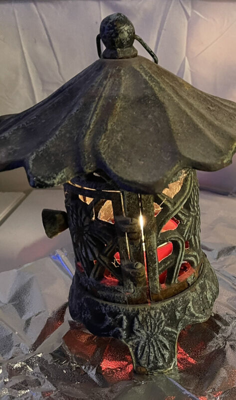 Vintage Cast iron Pagoda hanging Lantern See Pictures Amazing Piece. Over 50yrs