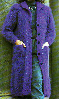 Mohair Knit Pattern (LADYS KNITTING PATTERN MOHAIR COAT JACKET EASY KNIT 30-40