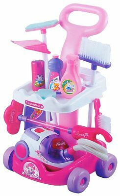 Girls Pink Household Cleaning Trolley Toy Set with Vacuum Cleaner & Accessories