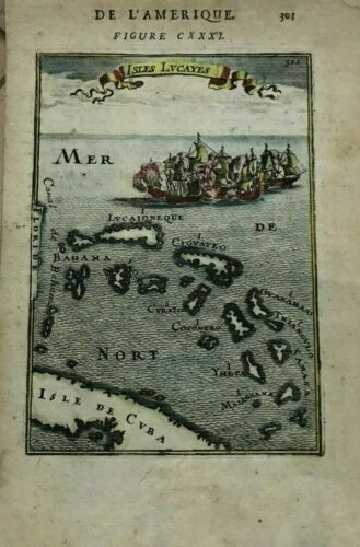 WEST INDIES FLORIDA 1683 ALAIN MANESSON MALLET NICE ANTIQUE MAP IN COLORS