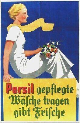 Original vintage poster PERSIL LADY FLOWERS LAUNDRY c.1940