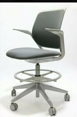 Steelcase Cobi Adjustable Ergonomic Swival Drafting Stool Chair In Grey Color