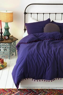 Urban Solid Bedding - Urban Outfitters Magical Thinking Purple Pom Pom Fringe  Duvet Cover Full Queen