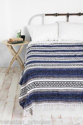 "Authentic Blue Mexican Falsa Blanket Hand Woven Yoga Mat Blanket 74"" x 50"""