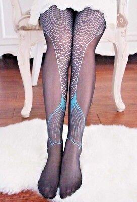 BLACK GLITTER MERMAID TIGHTS fish tail silver blue scale fin stockings gothic (Black Glitter Tights)