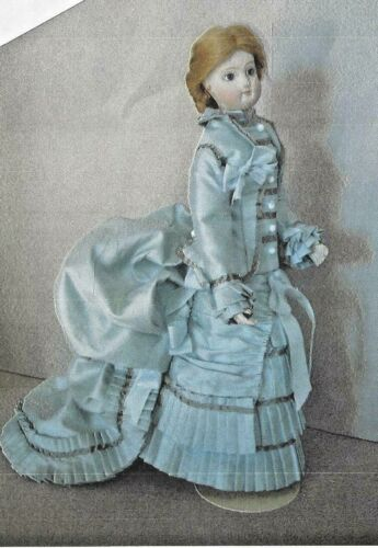 """9.5""""ANTIQUE FRENCH FASHION DOLL@1870-1885 BALL GOWN/DRESS TRAIN&PLEAT PATTERN"""